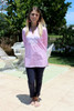 Gretchen Scott The Reef Wash-and-Wear Pinstripe Embroidered Tunic Pink/White
