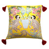 Silk Painted Square Pillow | Playing Monkeys on Yellow