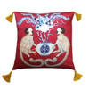 Silk Painted Square Pillow   Playing Monkeys on Maroon