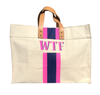 WTF Hand Painted Canvas Bag Navy/Pink
