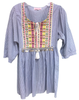 Ribbon Bibb Babydoll Dress | Blue & White Stripe