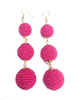 Three Tiered Beaded Ball Earring | Bubble Gum Pink