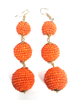 Three Tiered Beaded Ball Earring | Orange