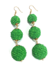 Three Tiered Beaded Ball Earring | Green