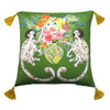 Silk Painted Square Pillow | Playing Monkeys on Green| Insta