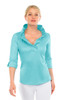 Gretchen Scott Ruffneck Jersey Top- 3/4 Sleeve- Turquoise