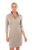 Gretchen Scott Ruffneck Jersey Dress Solid | Taupe