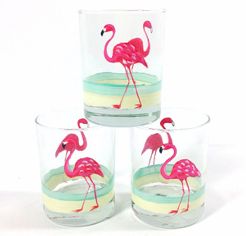 Flamingo Beach Double Old Fashioned Glasses (set of 4)
