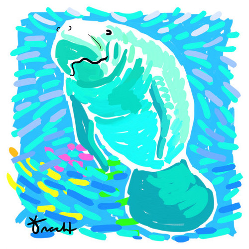 Happy Manatee Print