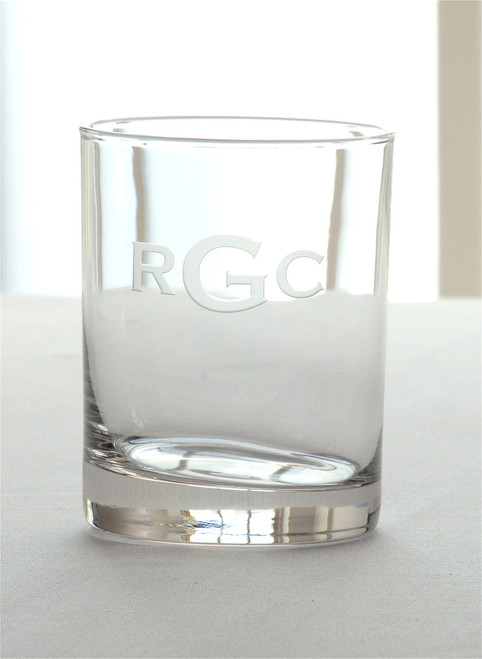 3 Letter Block Monogrammed Double Old Fashioned - Set of Four