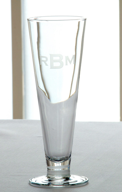 3 Letter Block Monogrammed Pilsner Glasses - Set of Four