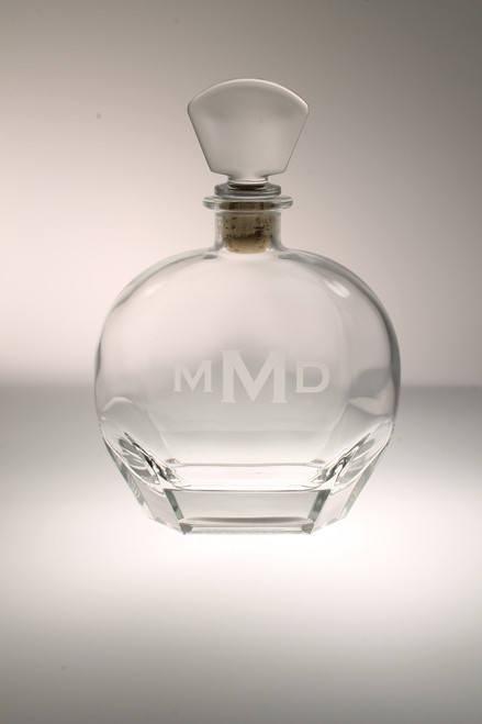 3 Letter Block Monogram Glass Whiskey Decanter