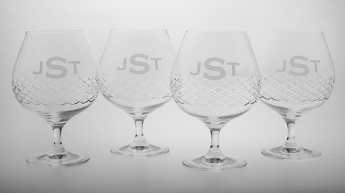 3 Letter Block Monogram Diamond Cut Brandy Glasses - Set of Four