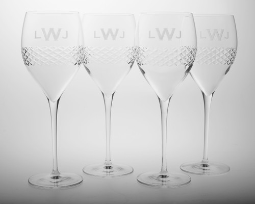 3 Letter Block Monogram Diamond Cut Medium Glass Tulips - Set of Four