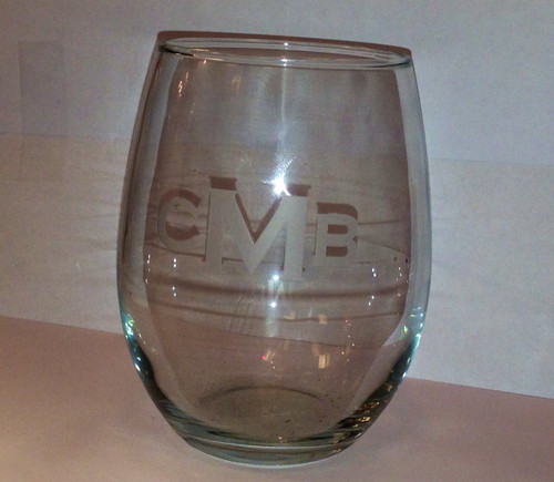 3 Letter Block Monogram Glass White Wine Tumblers - Set of Four