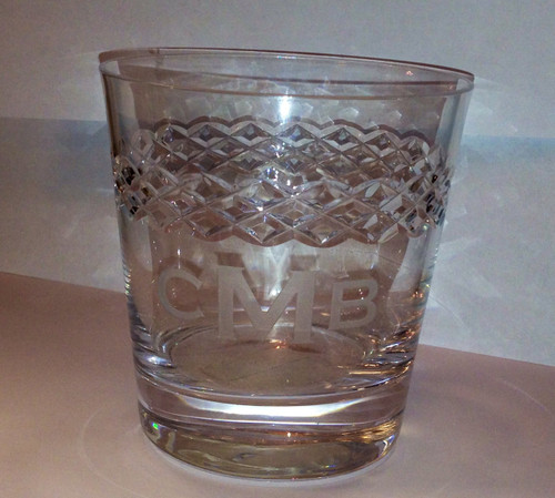 3 Letter Block Monogram Diamond Cut Glass Double Old Fashioned - Set of Four