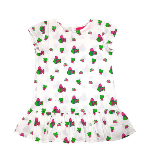 Childs Ruffle Dress Snappy Fish - Originally $54