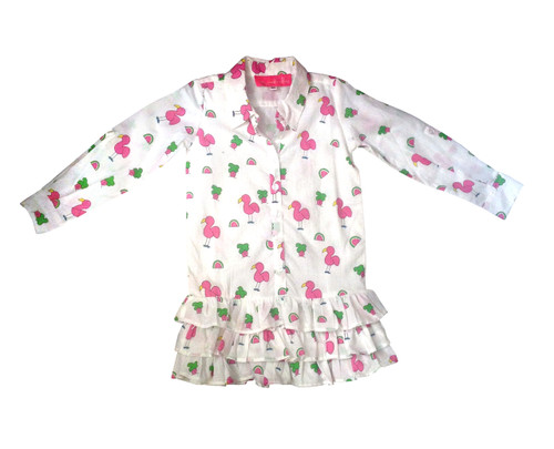 Childs Ruffle Bottom Dress Snappy Flamingos - Originally $78