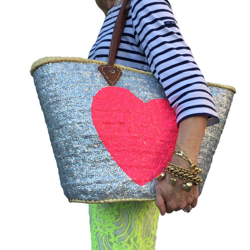 Silver Sequin Bright Pink Heart Large Tote