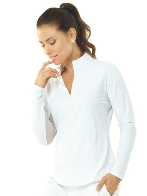 Ibkul Long Sleeve Cooling Mock Neck Top | Solid White