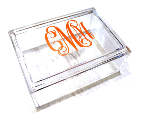 Lucite Jewelry Box with Monogram