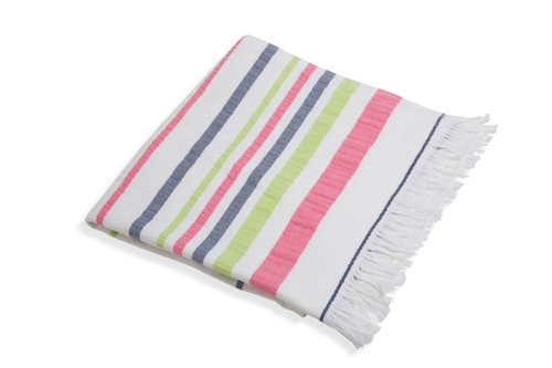 Woven Towel w/Terry- Pink/Green/Navy