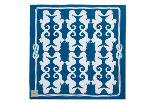 Navy Seahorses Beach Sheet