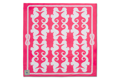Pink Seahorses Beach Sheet