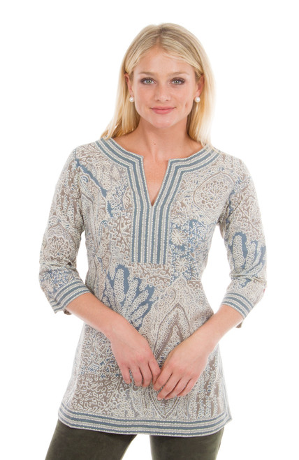 Gretchen Scott Split Neck Tunic Grand Bazaar Neutral