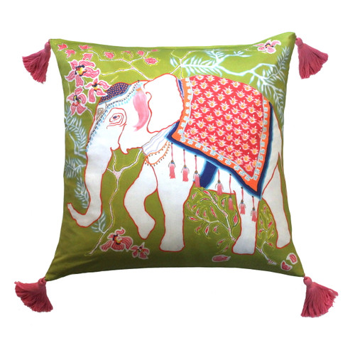 Silk Painted Square Pillow | Elephant on Green