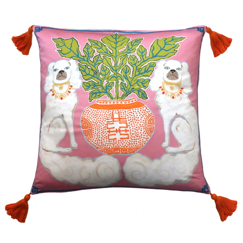 Silk Painted Square Pillow | Dogs on Pink