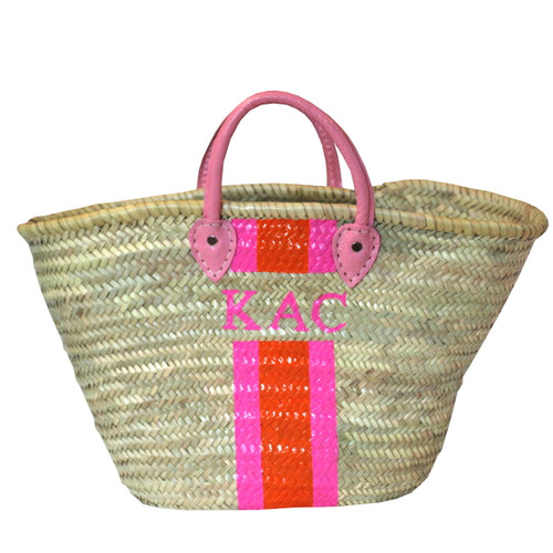 Create Your Own Personalized Hand-Painted Straw Beach Tote with Pink Handle