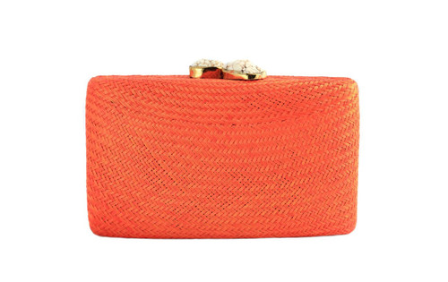 Jen Clutch with White Stone | Orange