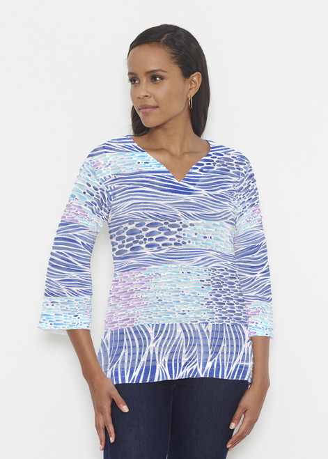 Before & Again   Banded 3/4 Bell Sleeve Tunic   Tidal Stripe