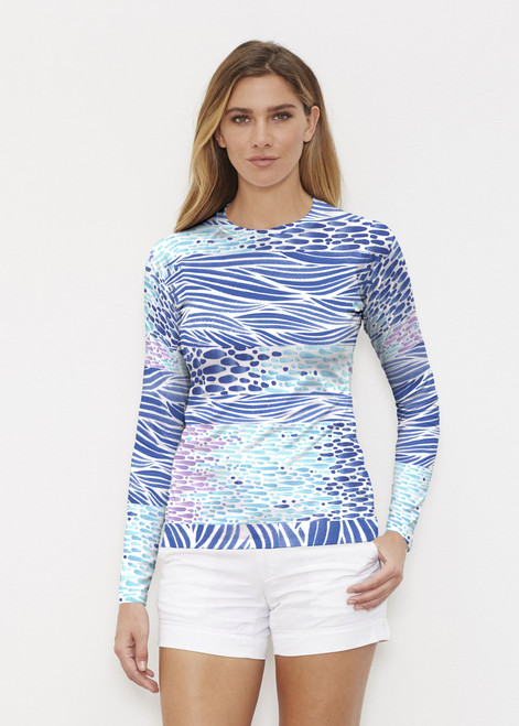 Before & Again | Long Sleeve Active Top | Tidal Stripe