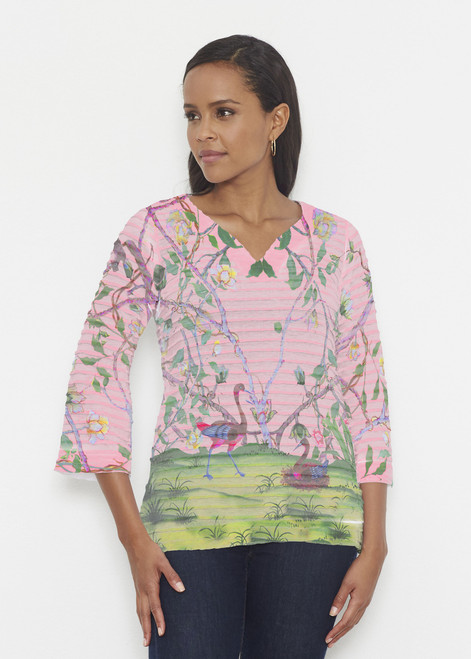 Before & Again | Banded 3/4 Bell Sleeve Tunic | Wildwood Pink