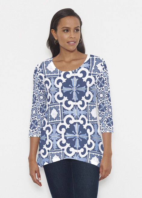 Before & Again | Katherine Hi-Lo Tunic | Portugese Blue