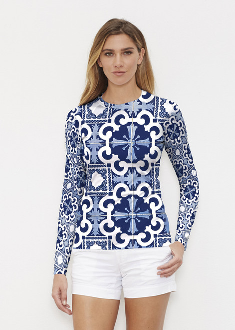 Before & Again | Long Sleeve Active Top | Portugese Blue