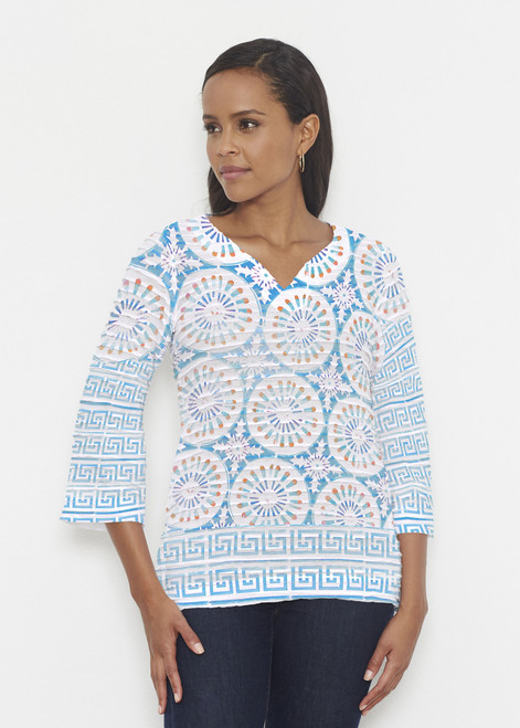 Before & Again   Banded 3/4 Bell Sleeve Tunic   Luso-Moroccan Aqua