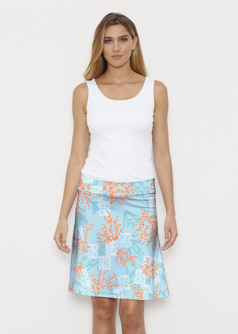 Before & Again | Silky Brenda Skirt | Shoreline Aqua