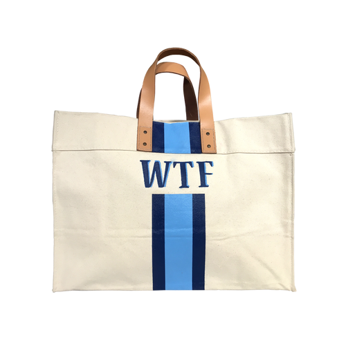 WTF Hand Painted Canvas Bag Blue