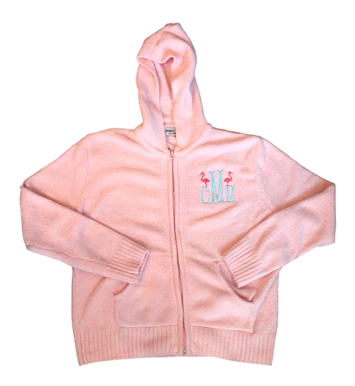 Chenille Zip-Up Hoodie with Double Flamingo Monogram