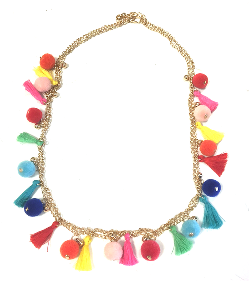 Tassel Pom Pom Chain Necklace
