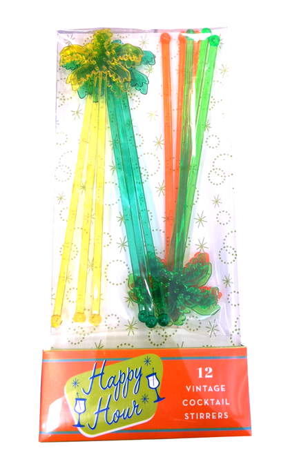 Vintage Palm Tree Stirrers | Set of 12
