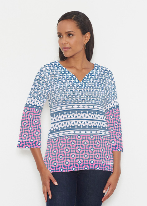 Before & Again | Banded 3/4 Bell Sleeve Tunic | Mixology Navy
