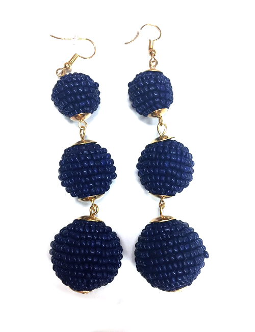 Three Tiered Beaded Ball Earring | Navy
