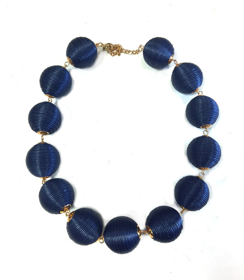 Navy Threaded Ball Necklace
