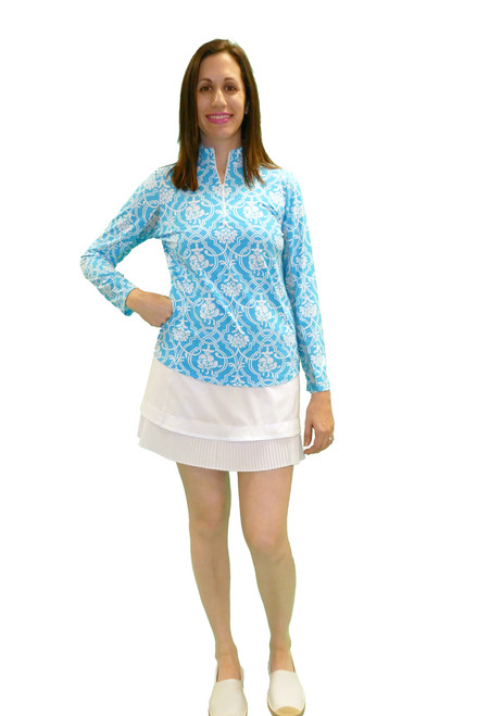 IBKul Long Sleeve Cooling Mock Neck Top | Kira Aqua