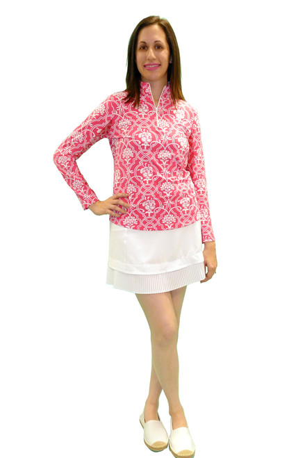 IBKul Long Sleeve Cooling Mock Neck Top | Kira Pink