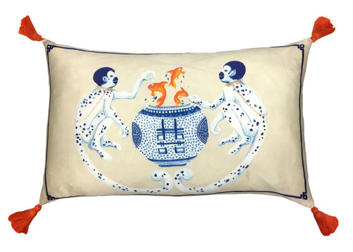 Silk Painted Rectangle Pillow | Monkey Business
